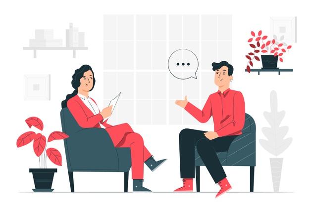 desenho de uma mulher e um homem conversando em uma entrevista de emprego