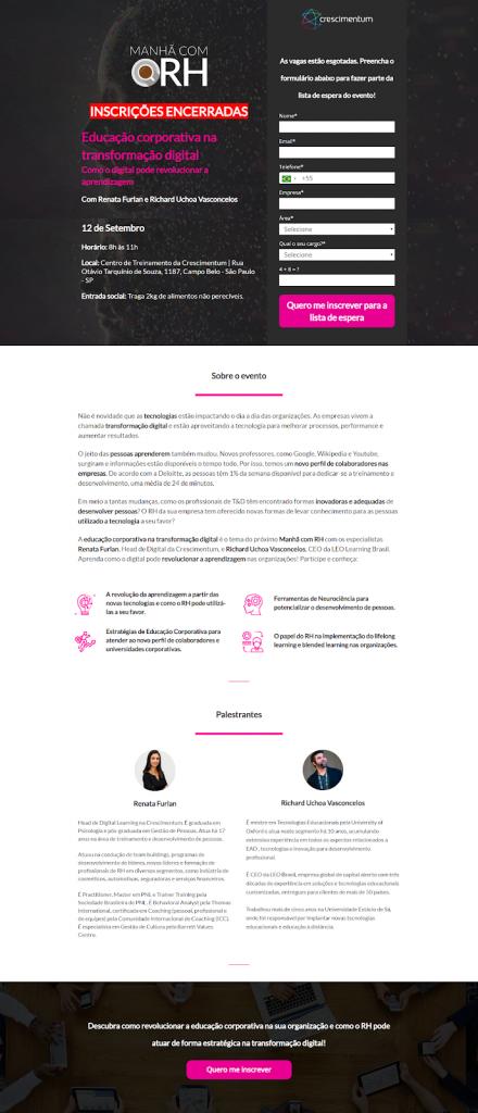 Exemplo de copywriting para landing page