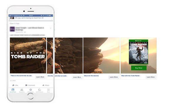Exemplo de Facebook Ads em Carrosel