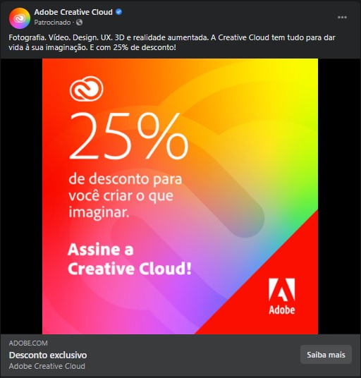Exemplo de Facebook Ads da Adobe