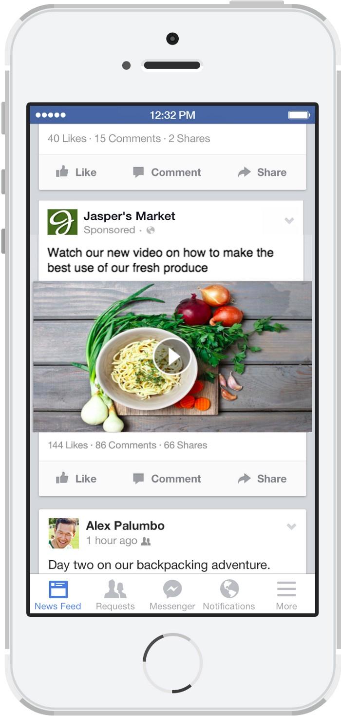 Exemplo de anúncio em vídeo no Facebook